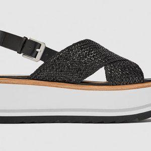 Zara Black White Wedge Braided Platform Sandals